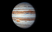 Jupiter Planet isolated in black