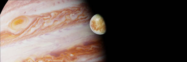 Jupiter's moon Europa in front of the planet Jupiter illustration banner with Jupiter on one of the orbiting moons galileo galilei stock pictures, royalty-free photos & images