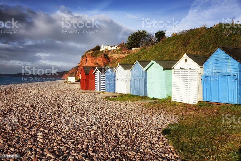 Jurassic Coast beach huts, Budleigh, Devon stock photo