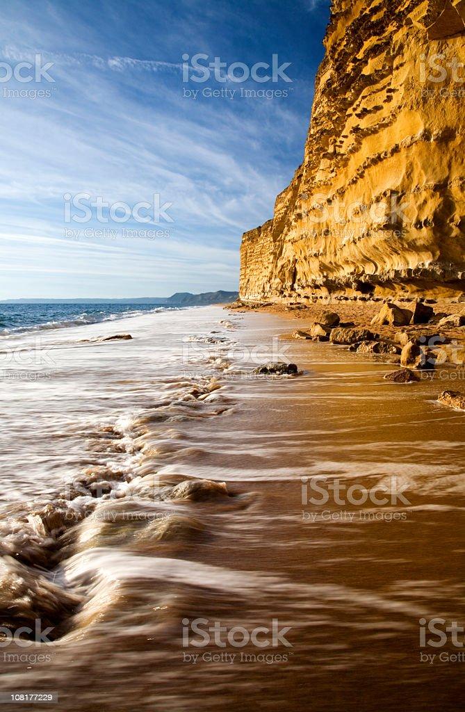 Jurassic Coast Chalk Cliff Along Beach stock photo
