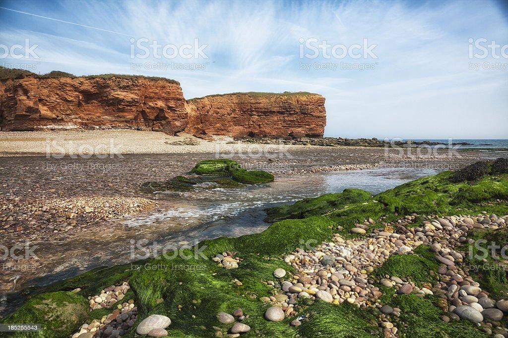 Jurassic Coast estuary pebble beach, Budleigh, Devon royalty-free stock photo