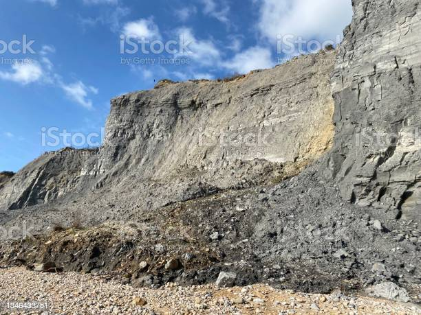 Photo of Jurassic coast fossil hunting grounds on the beach of Dorset .