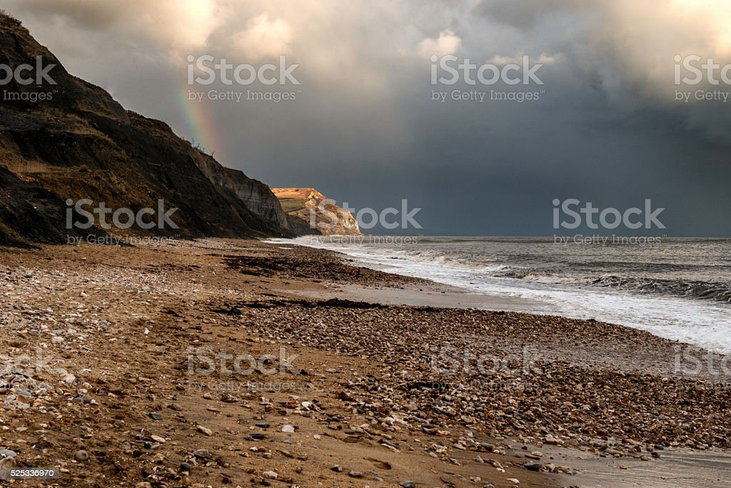 Jurassic Coast West Beach, Charmouth in Dorset. Part of a series of images of this fascinating area. Dorset - England Stock Photo