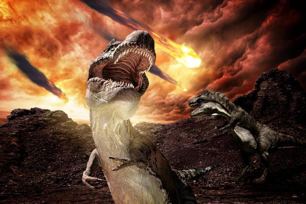 jurassic dinosaurs during apocalypse stock photo