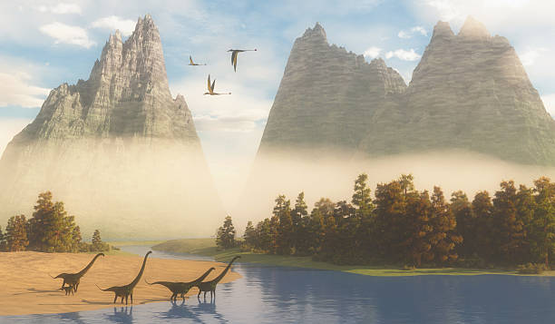 Jurassic Mamenchisaurus Habitat Dimorphodon reptiles fly over a herd of Mamenchisaurus dinosaurs coming down to a river for a drink. herbivorous stock pictures, royalty-free photos & images