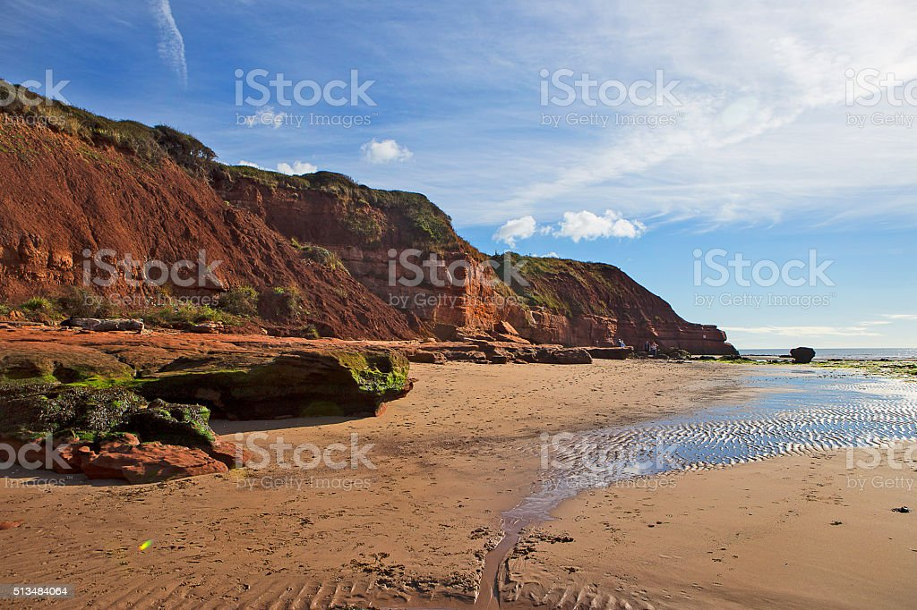Jurassic Rocks at Orcombe Point, Exmouth, Devon stock photo