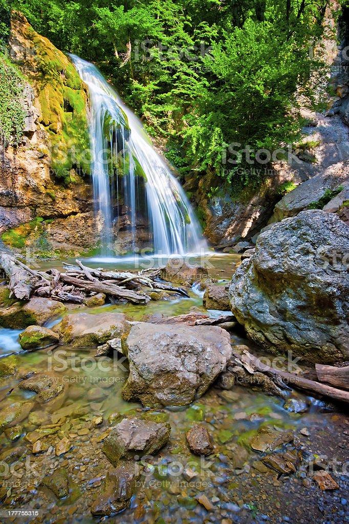Jur-Jur waterfall in the rainforest. Ukraine. Crimea. royalty-free stock photo