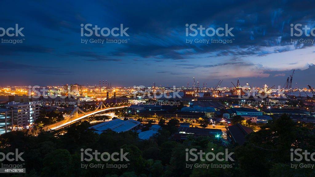 Jurong Island, Singapore during Dusk stock photo