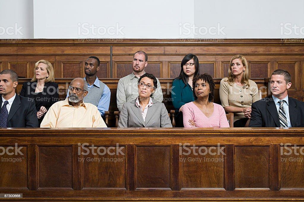 Jurors in the jury box  Juror - Law Stock Photo