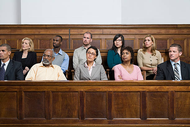 Jurors in the jury box  courtroom stock pictures, royalty-free photos & images