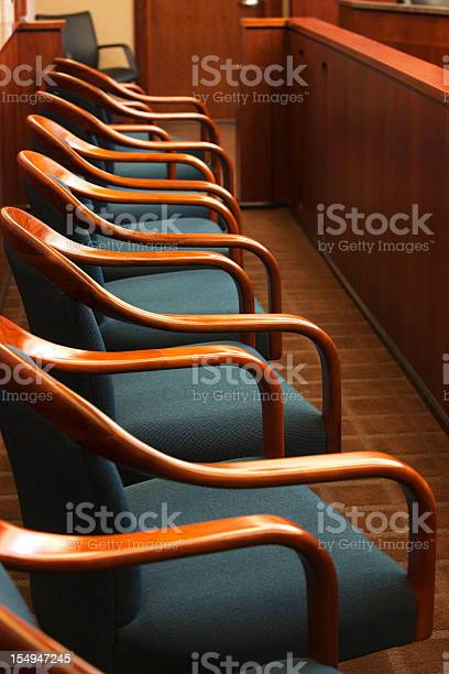 Jurors Row In A Court Room Stock Photo - Download Image Now