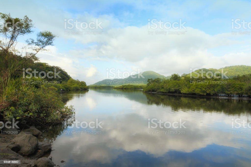 Bertioga, RP, 브라질의 Jurubatuba 강 - 로열티 프리 0명 스톡 사진