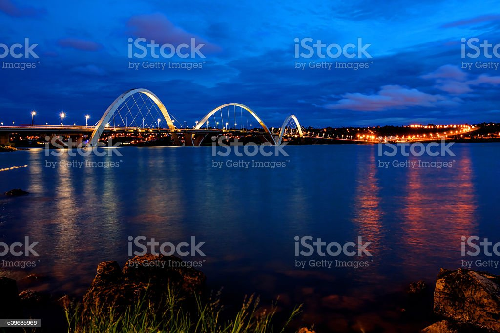 Juscelino Kubitschek Bridge in Brasilia at night stock photo