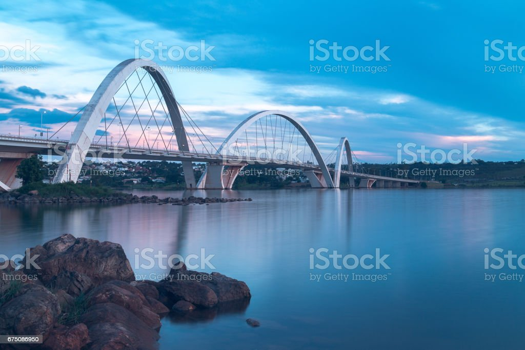 Juscelino Kubitschek Bridge in Brasilia, Brazil. stock photo