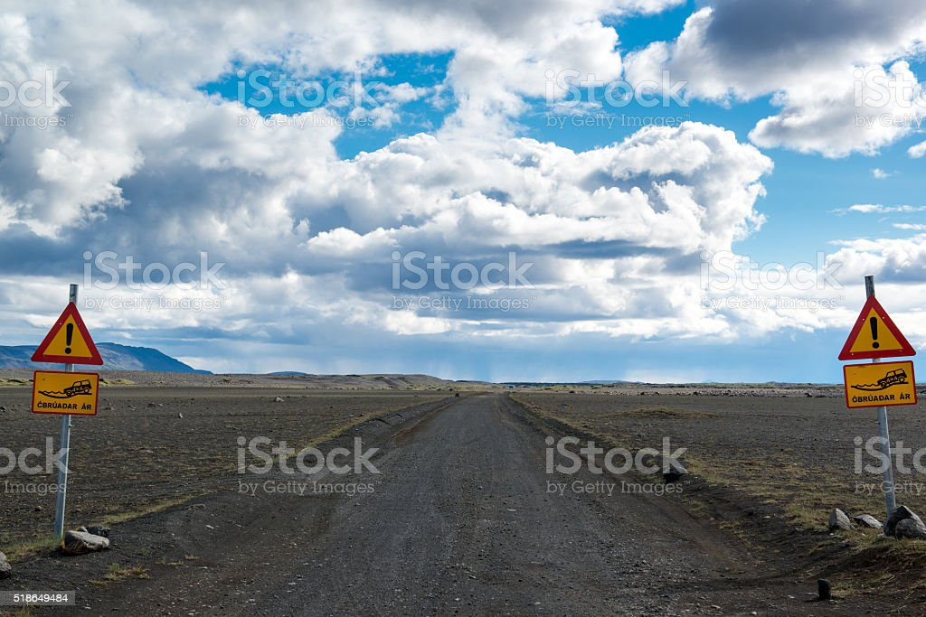 Just 4x4 road sign, just four wheels drive road, Northern Iceland stock photo