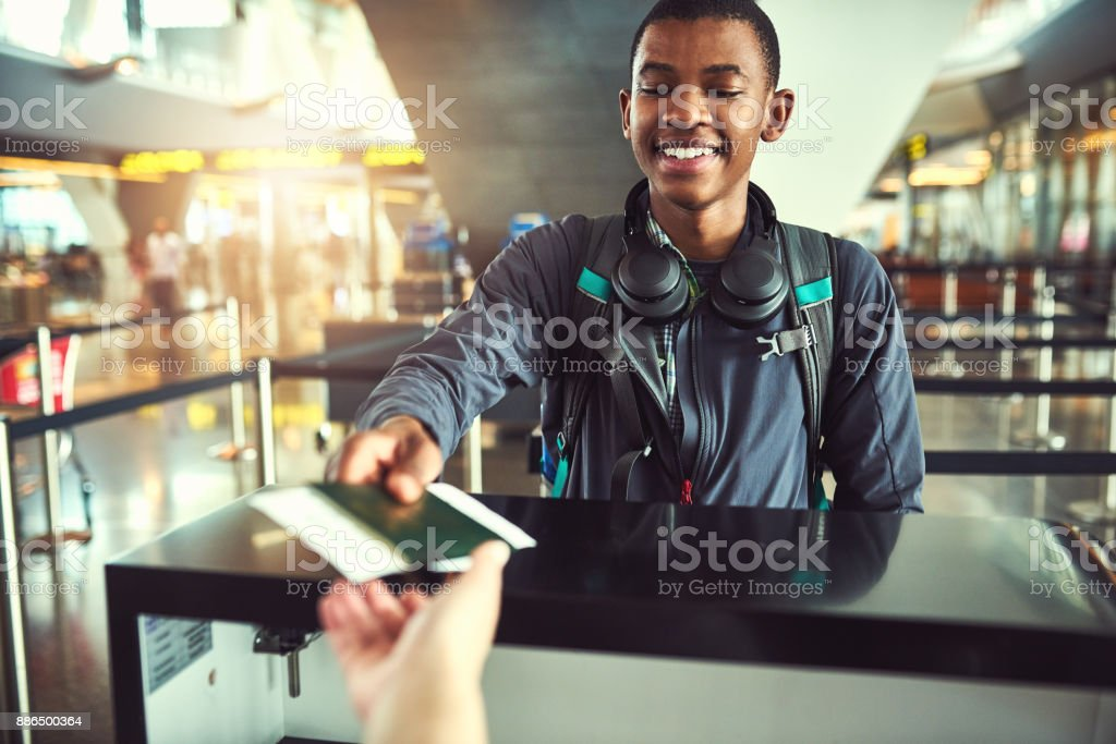 Just a few more procedures before I board stock photo