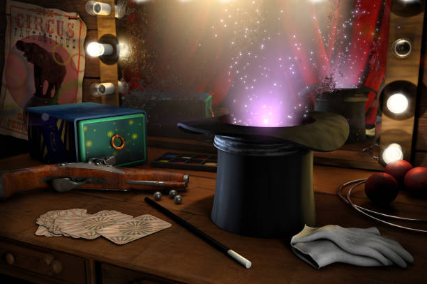 Just a little magic 3D illustration of Old circus magician's tools magician stock pictures, royalty-free photos & images