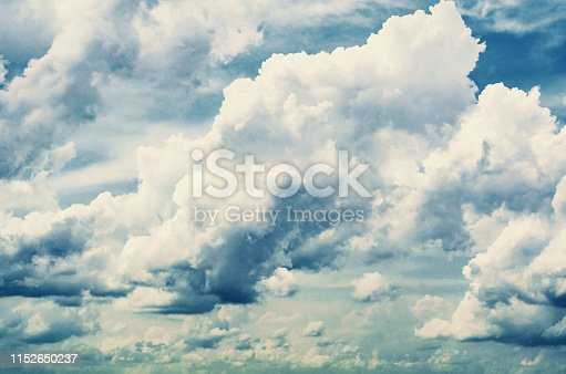 istock Just a photograph of white clouds in the blue sky. 1152650237
