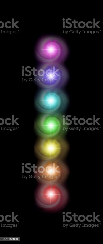 Just a single column of the Seven Spinning Major Chakras stock photo