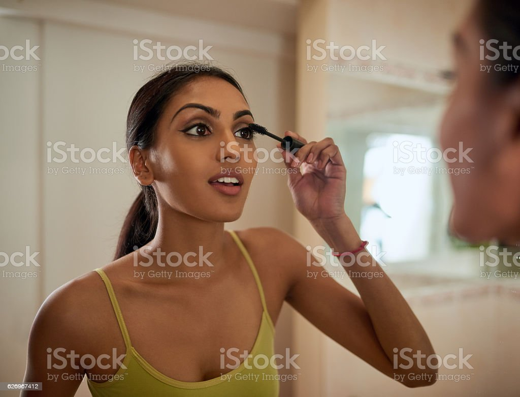 Just a touch of mascara to complete her look stock photo