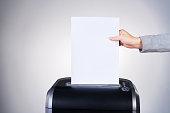 Studio shot of paper being shredded