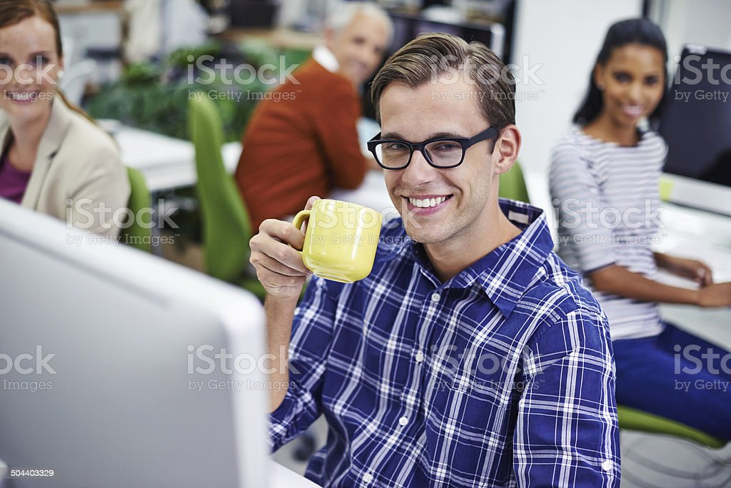 Just another day in the office...work's going great! stock photo