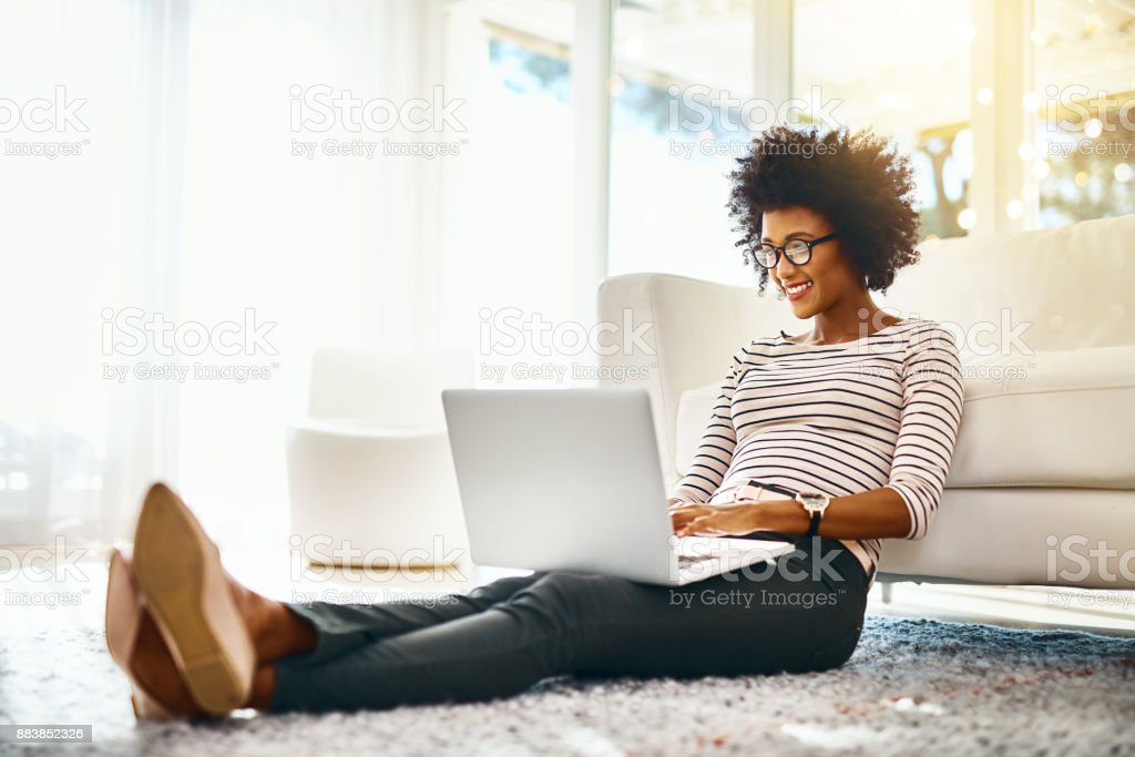Just another day working in my own personal home office stock photo