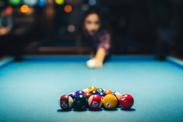 just before pool break - cue ball stock pictures, royalty-free photos & images