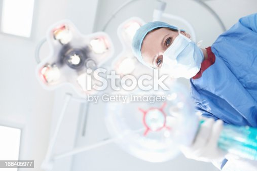 Patient's view of a medical surgeon/nurse putting them under a general anaesthetic