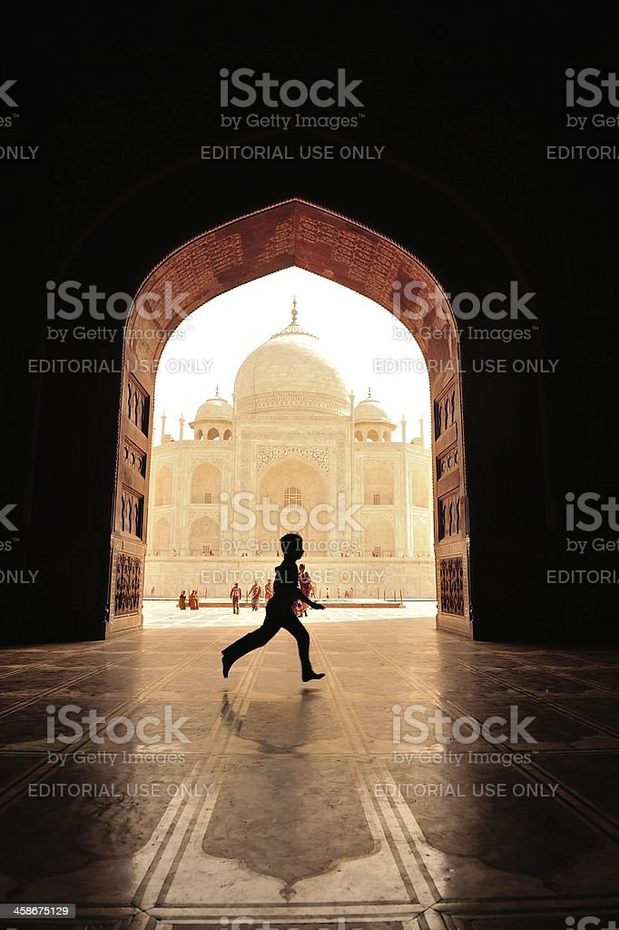 just child and the Taj royalty-free stock photo
