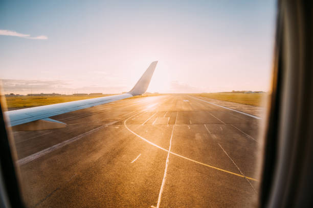Just landed airplane at Copenhagen airport. stock photo