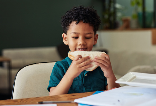Shot of an adorable little boy eating a sandwich while completing a school assignment at home