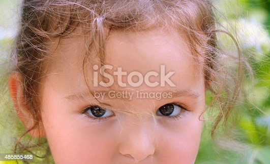 Little girl with very serious expression, as if on the verge of tears.