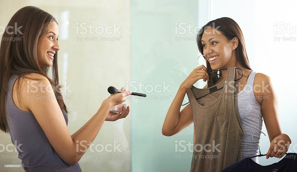 Just making double-sure what to wear royalty-free stock photo