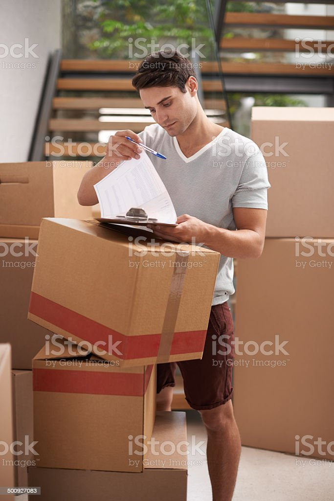 Just making sure nothing's missing stock photo