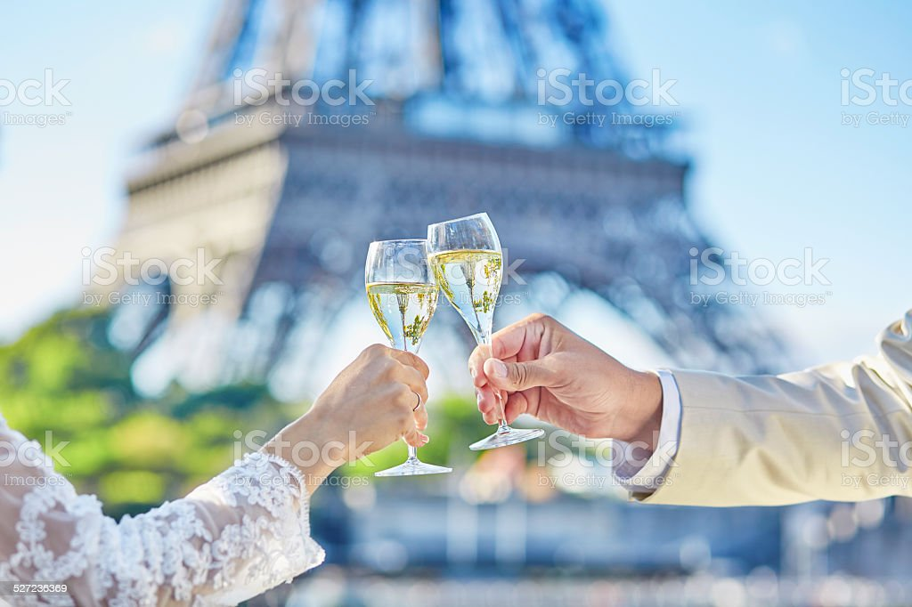 Just married couple drinking champagne stock photo