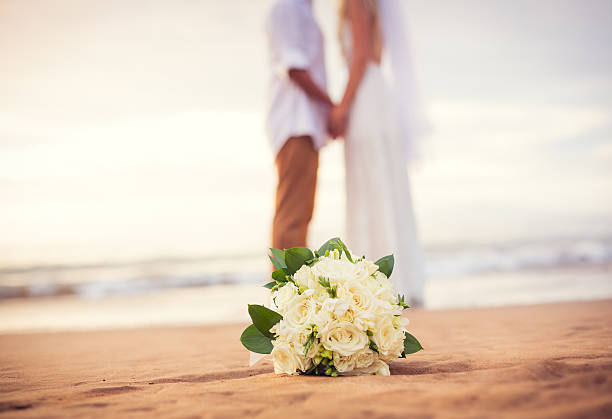 Just married couple holding hands on the beach Just married couple holding hands on the beach, Hawaii Beach Wedding honeymoon stock pictures, royalty-free photos & images