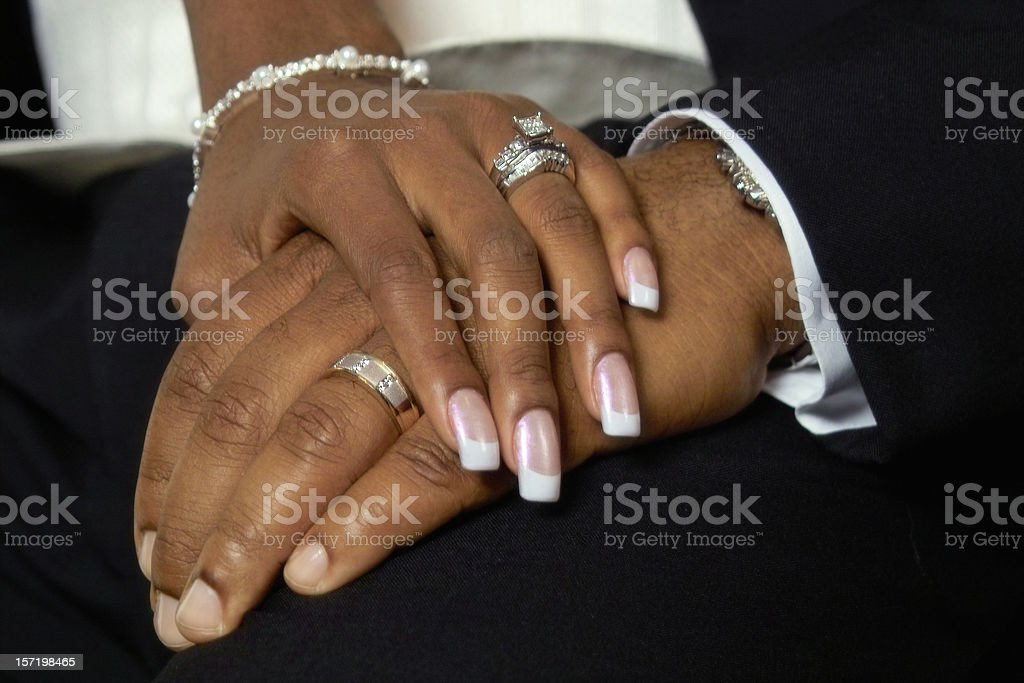 Just Married - Holding Hands stock photo
