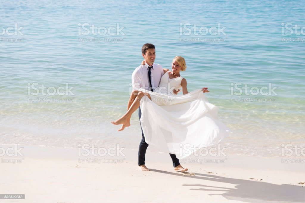 Just married in Seychelles stock photo