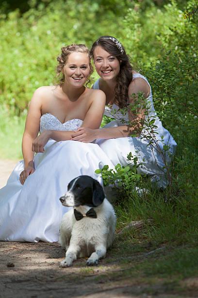 recién casados lesbiana par con perros en el bosque - civil rights fotografías e imágenes de stock