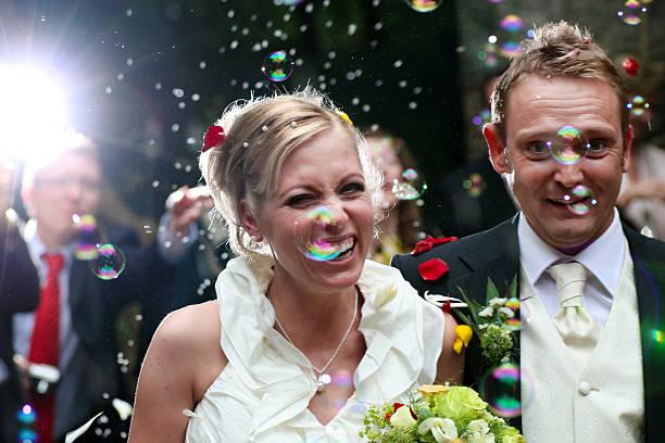 just married - hochzeits thema hollywood stock-fotos und bilder