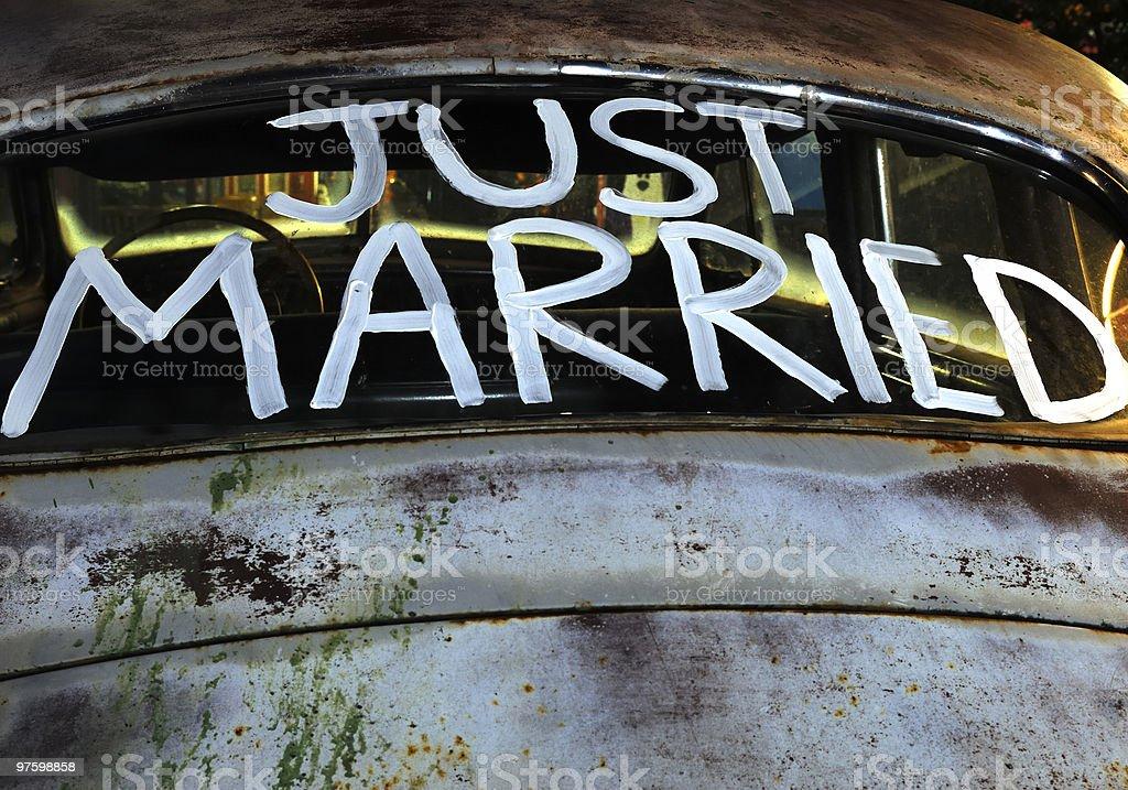 Just married royaltyfri bildbanksbilder