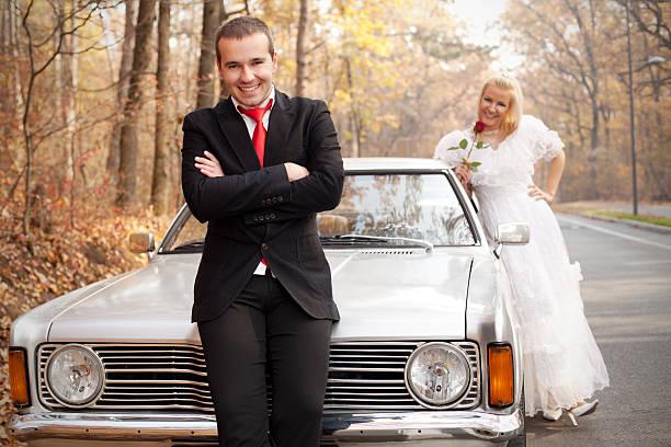 just married series - bräutigam anzug vintage stock-fotos und bilder