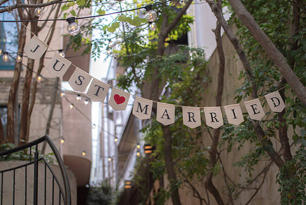 just married sign party flag – Foto