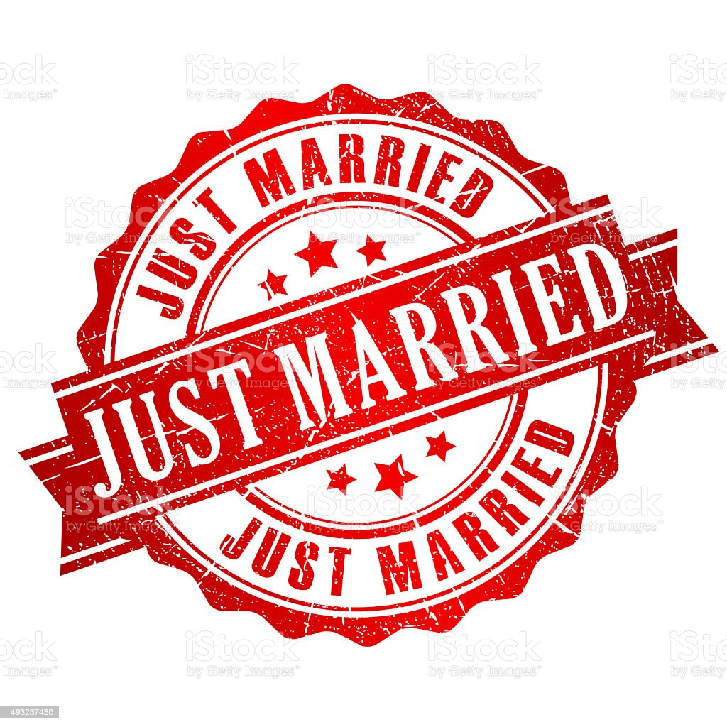 Just married stamp stock photo