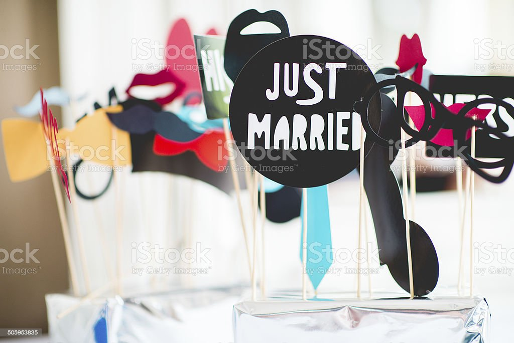 Just Married Wedding props details stock photo