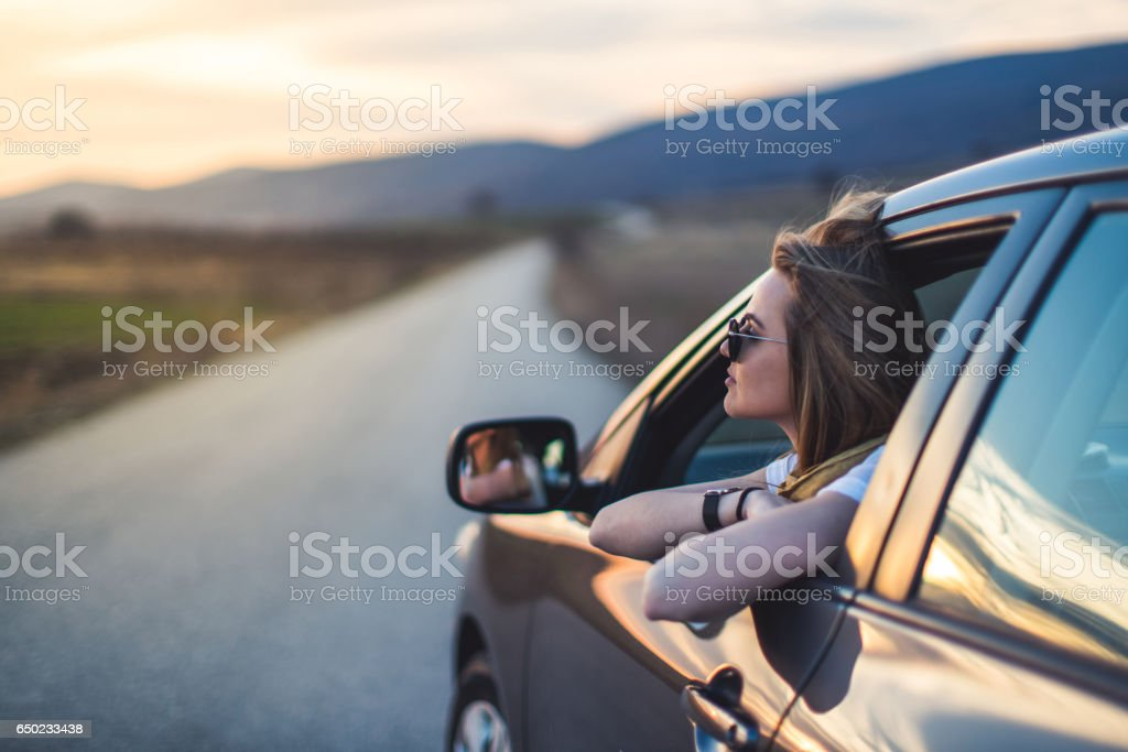 Just me admiring the view stock photo