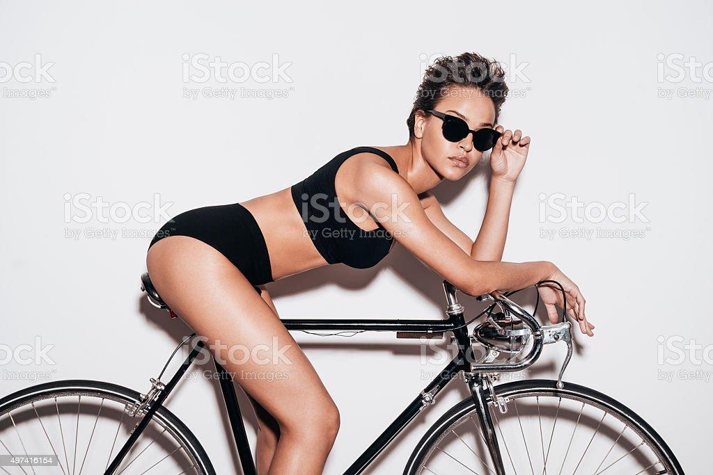 Just me and my bike. stock photo