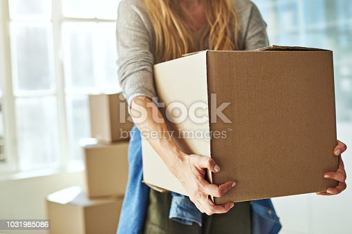 Cropped shot of a young woman carrying boxes while moving into her new home