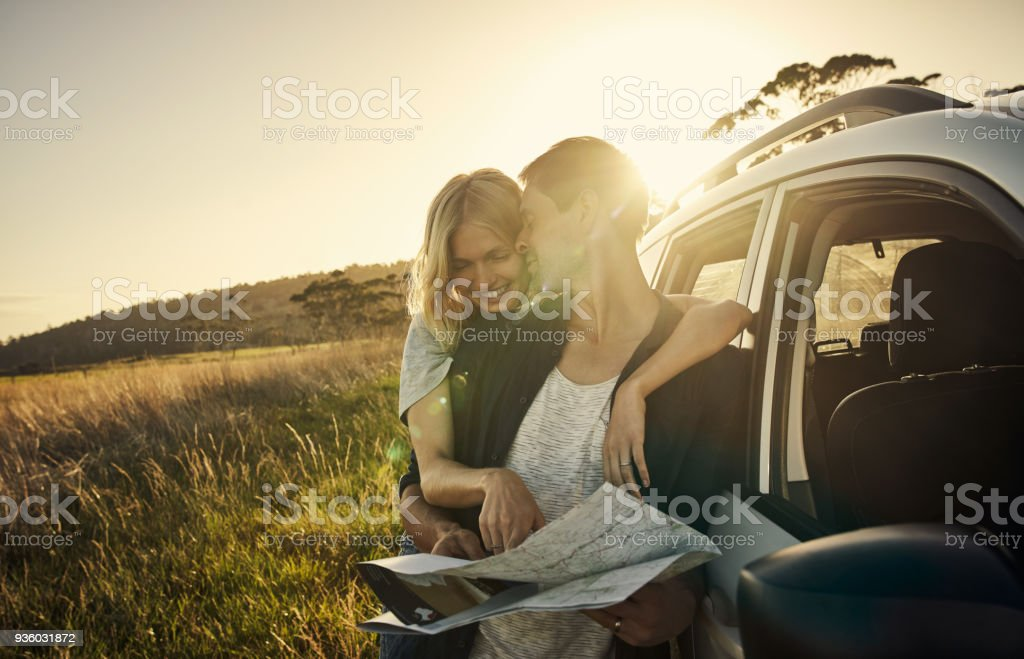 Just one more town and we're there stock photo